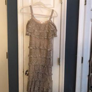 EUC Boston Proper Crochet cold shoulder dress Med